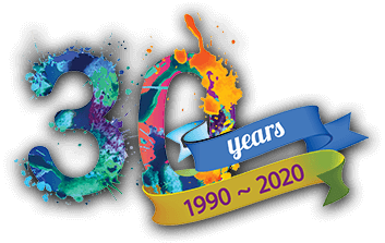 30 Years 1990 to 2020 logo (very colorful)