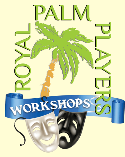 Royal Palm Players Workshops logo showing two masks